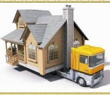 Desenho de ilustração - casinha sendo levada no caminhão guincho - peq